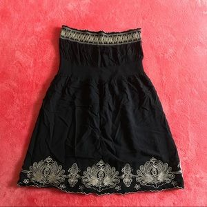 Strapless Black Embroidered Dress